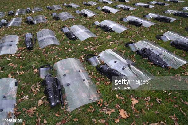 Protective riot control gear is layed out on the ground west of the U.S. Capitol on January 17, 2021 in Washington, DC. After last week's riots at...