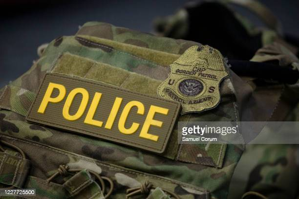 Protective vest with identifying markings worn by Border Patrol is seen during a press conference on the actions taken by Border Patrol and Homeland...