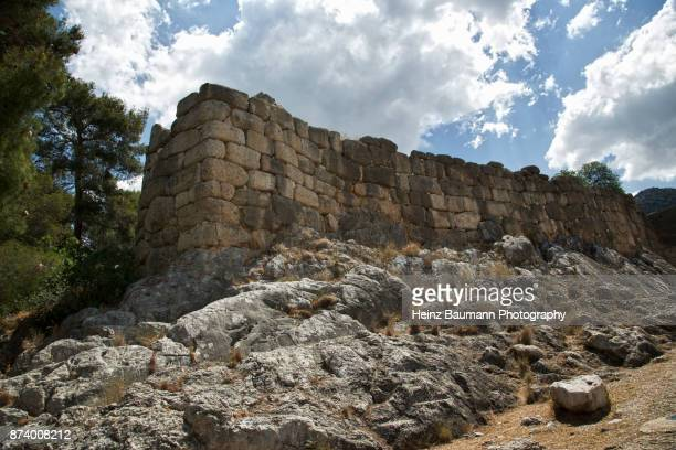Protective wall around Mycenae, Peloponnese, Greece, Mycenaean civilization