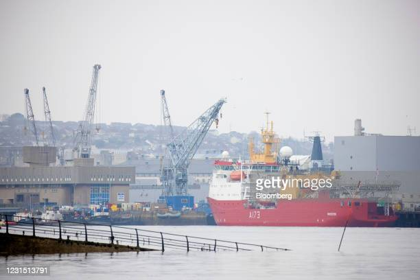 Protector ice patrol ship moored at Plymouth port near the site of the Devonport freeport in Plymouth, U.K., on Thursday, March 4, 2021. U.K....