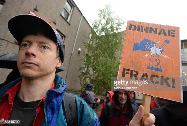 A protest against Fracking in Scotland outside the SNP Autumn Conference on October 19 2013 at the Perth Concert Hall Perth Scotland Alex Salmond...