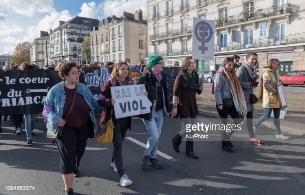 Protest Against Genderbased And Sexual Violence In Nantes France on 24 November 2018 About 400 people responded to the call of the citizen movement...