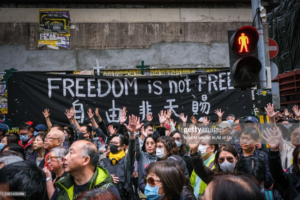 Protest against government for new year day, in Hong Kong, China : ニュース写真