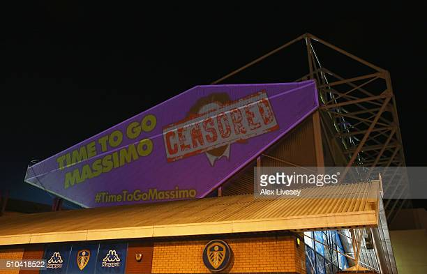 Protest against Massimo Cellino the cahirman of Leeds United is projected against Elland Road prior to the Sky Bet Championship match between Leeds...