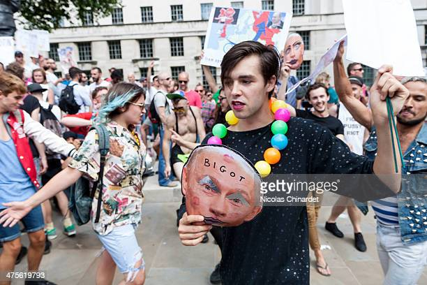 Protest against the anti-gay propaganda law in Russia, opposite Downing Street