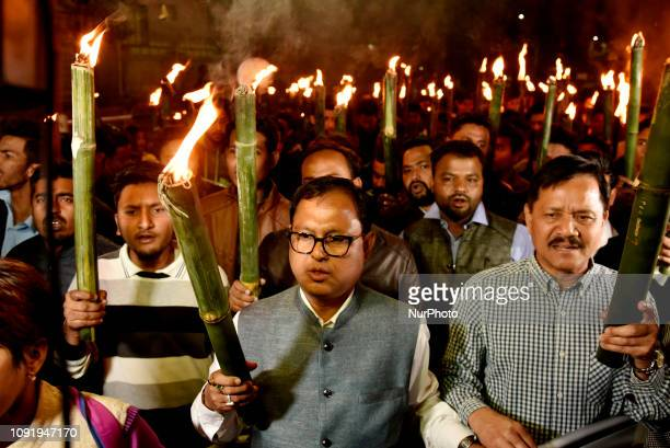 Protest against the Citizenship Amendment bill. Guwahati, Assam, India. January 31, 2019. Activists of All Assam Students Union along with 30...
