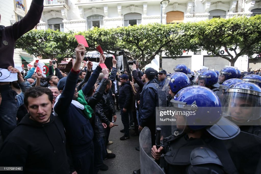 Protest Against The Fifth Term Of Abdelaziz Bouteflika In Algiers : News Photo