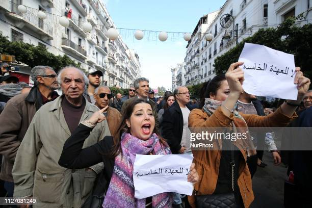 Protest against the fifth term of Abdelaziz Bouteflika in Algiers Algeria 24 February 2019 Abdelaziz Bouteflika serving as the president since 1999...