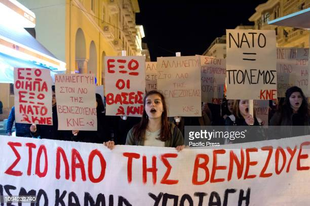 Protest and march by members of Communist Youth of Greece against US policy in Venezuela. The main destination of the march was the US Consulate.