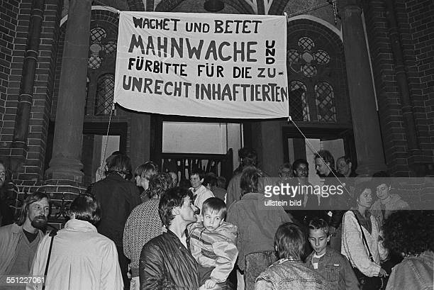 Protest and meeting point of East Germany's various opposition groups in the Gethsemanekirche church in East Berlin Prenzlauer Berg Since October...