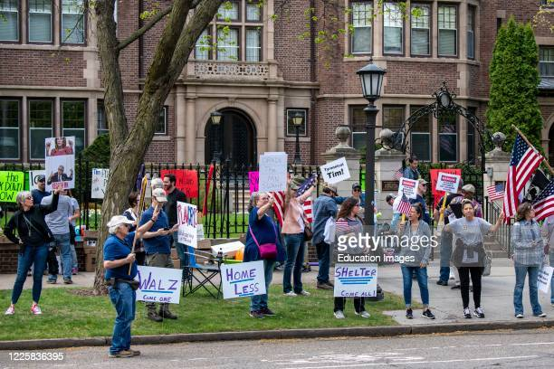 Protest at Governor Tim Walz's mansion to reopen Minnesota.