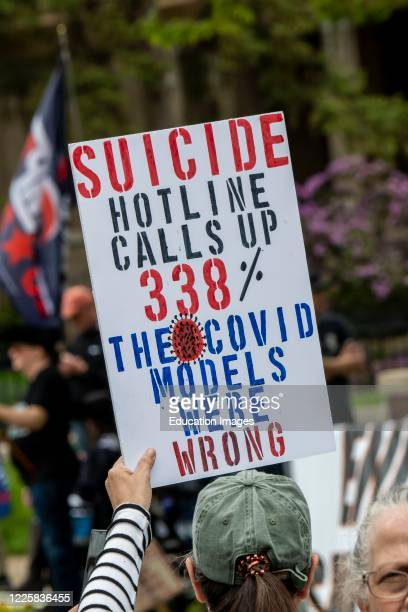 Protest at Governor Tim Walz's mansion to reopen Minnesota, Suicide calls up 338% sign.