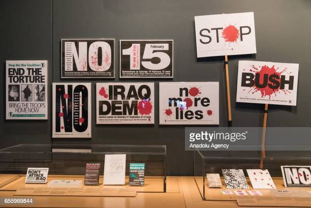 Protest banners feature in the Imperial War Museum London People Power Fighting for Peace the UKs first major exhibition to explore the evolution of...