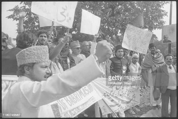 Protest by Muslim community outside resident of Prime Minister Rajiv Gandhi against the shilanyas at Babri Masjid in Ayodhya