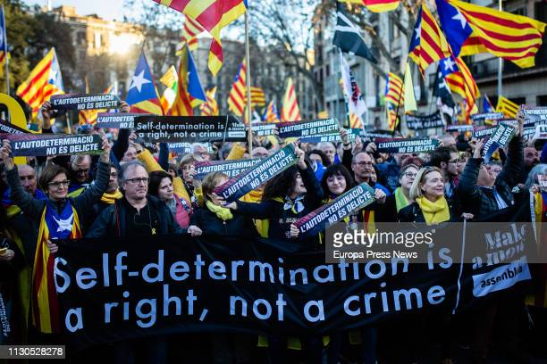 Protest called by supporters and sovereign entities against the trial on the independence referendum on October 1st 2017 in Catalonia on February 16...