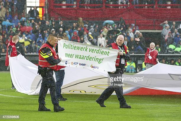 protest Dutch police during the Dutch Cup Final match between PEC Zwolle and FC Groningen on May 3 2015 at the Kuip stadium in Rotterdam The...