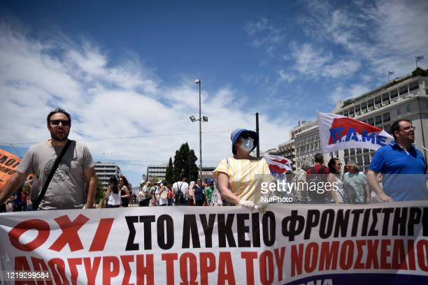 Protest front of the Greek Parliament by teachers and students against the new education multi-bill which was voted today in Athens, Greece on June...