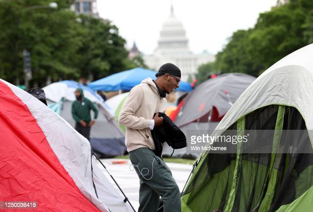 Protest group named Freedom Fighters DC continues its 36-hour sit-in along Pennsylvania Avenue at Freedom Plaza June 16, 2020 in Washington, DC. The...