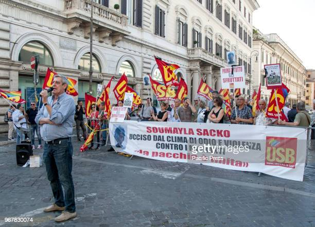Protest in front of the Prefecture in Rome of the USB union the same union that was registered Soumayla Sacko the 29yearold Malian laborer killed in...
