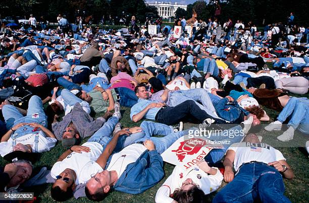 AIDS protest in front of the White House ACT UP activists stage a diein on the lawn in front of the Capitol building