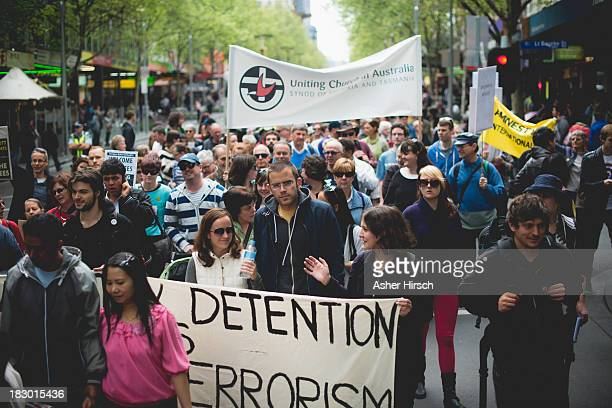 Protest in Melbourne Australia about Australia Government Refugee Policy.