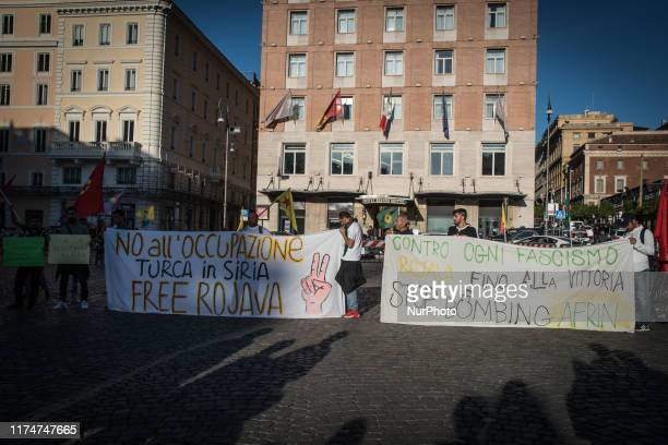 Protest in Piazza Barberini Pro Kurdish activists flash victory signs and shout slogans as they protest against Turkish military operations Wednesday...