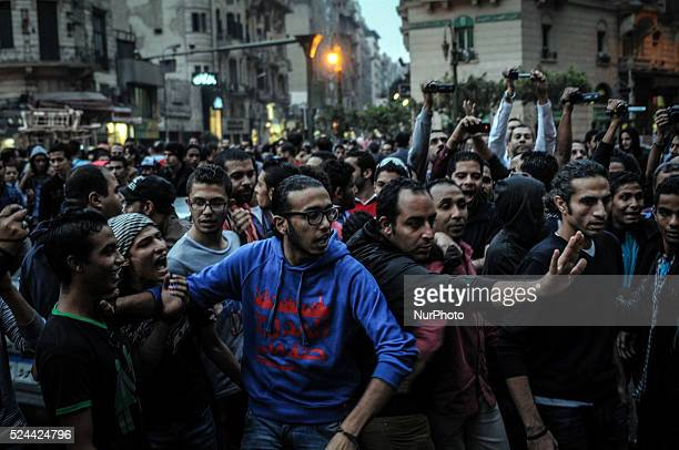 Protest in Talaat Harb Square in Downtown went to Kasr Al Ainy stin front of Shoura Council Cairo Egypt against the issuance of a new law regulating...