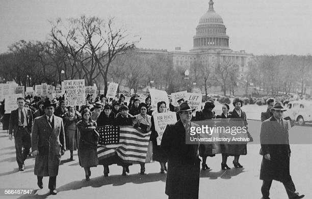 Protest in Washington DC in the USA against neutrality during the Spanish Civil War
