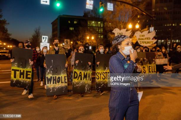 Protest leader helps lead chants on their way back from the Police Headquarters. Members of Black Lives Matter organizations in Columbus hold a press...