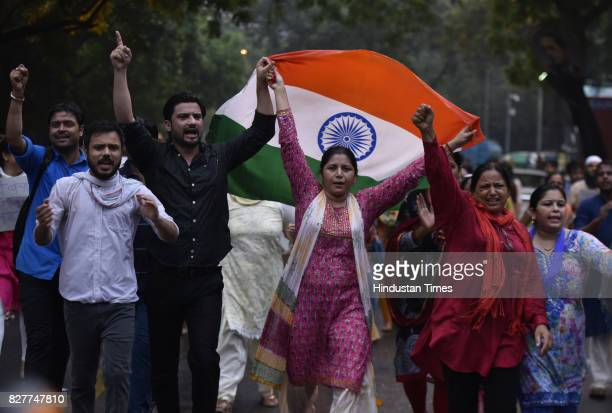 Protest march demanding the arrest of BJP Punjab State Head son involved in Chandigarh stalking case and 'Save Beti of Bharat' at Jantar Mantar on...