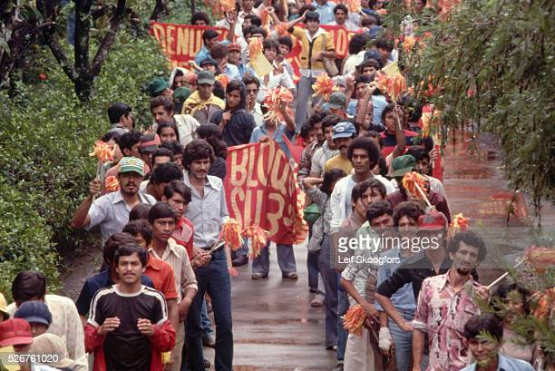 A protest march of a united front of demonstrators in San Salvador prior to the outbreak of civil war El Salvador