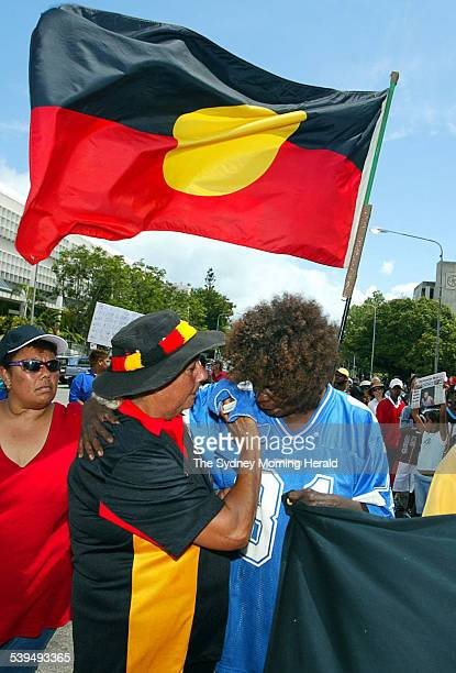 Protest march through the streets of Townsville over Death in Custody victim Cameron Doomadgee on 9 December 2004. Image shows the sister of Cameron,...