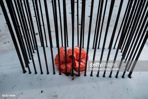 TOPSHOT A protest of the death penalty is seen outside the Board of Church Society near the US Supreme Court on March 15 2017 in Washington DC / AFP...