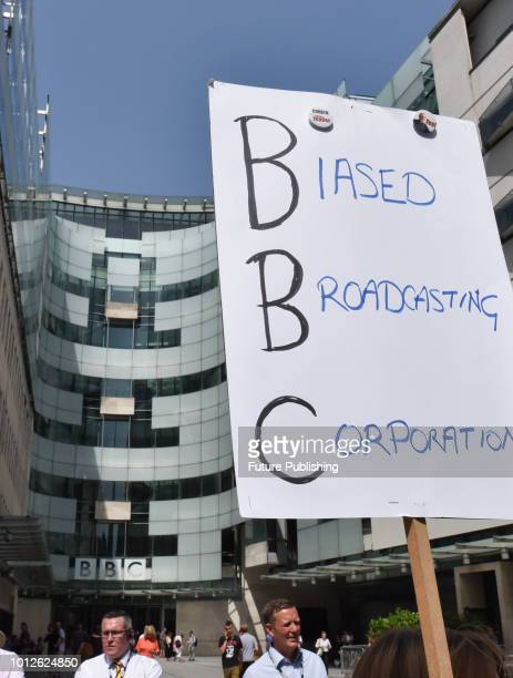 Protest outside the BBC headquarters about biased news coverage against Jeremy Corbyn and the Labour party on August 07, 2018 in London, England....