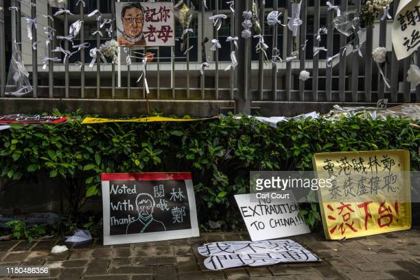 Protest posters lie against the fence of the Legislative Council building on June 18 2019 in Hong Kong Hong Kongs Chief Executive Carrie Lam issued a...