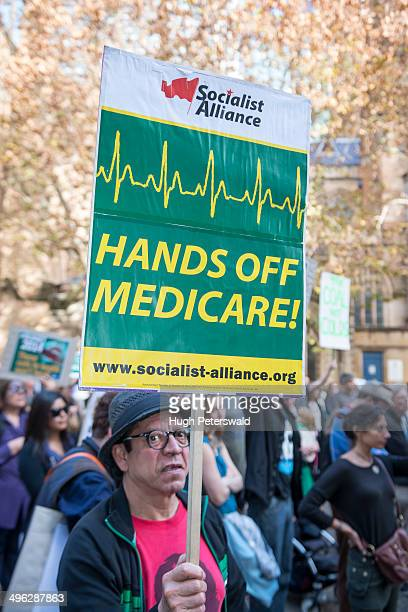 Protest Rally against changes to Medicare announced in the Federal Budget held at Sydney Town Hall on May 31 2014