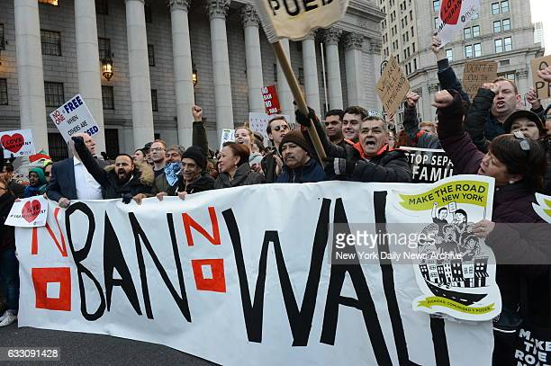 Protest rally and March from Battery Park Manhattan against President Trump's executive orders on immigration Thursday Jan 29 2017