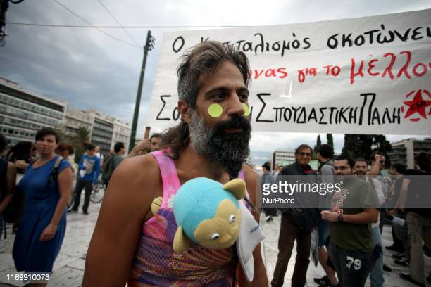 Protest rally by environmental and political organisations in front of the Greek Parliament during Fridays for Future against climate change in...