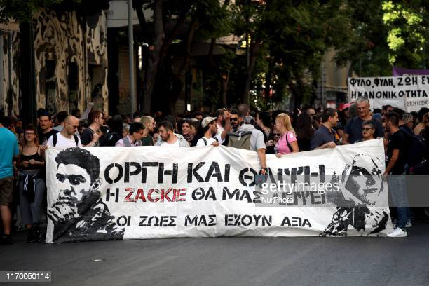Protest rally by LGBTQ members and other activists one year since the murder of gay activist Zak Kostopoulos in Athens Greece on September 21 2019...
