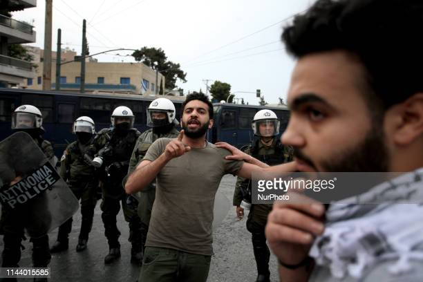 Protest rally by Palestinians outside the embassy of Israel in Athens Greece on May 15 2019 to commemorate the 71th anniversary of Nakba also known...