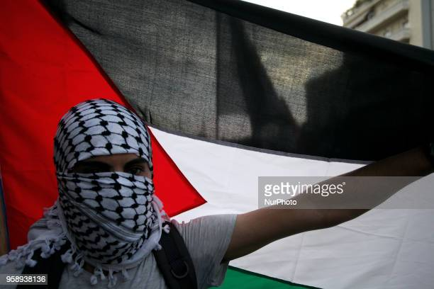 Protest rally by Palestinians outside the embassy of Israel in Athens Greece on May 15 2018 to condemn the war along the Gaza border and against the...