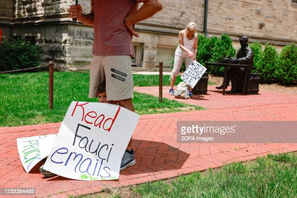 Protest sign makes a reference to Anthony Fauci's alleged e-mails seen during the demonstration. Anti-vaxxers and anti-maskers gathered at Indiana...