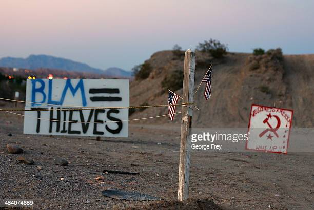 Protest signs are posted along US highway 170 protesting the closure of thousands of acres of Bureau of Land Management land that has been...