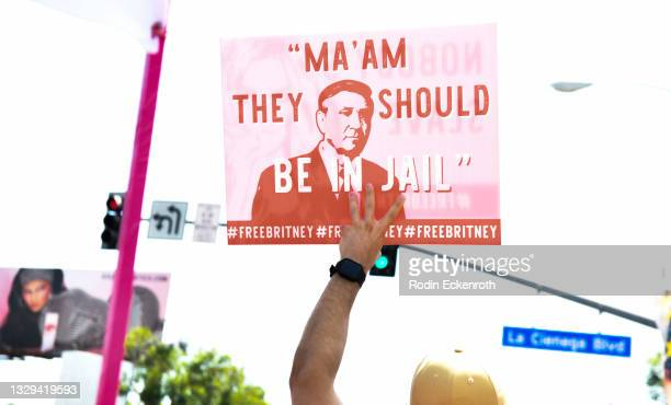 Protest signs at the #FreeBritney March starting in Plummer Park on July 18, 2021 in West Hollywood, California. The group is calling for an end to...