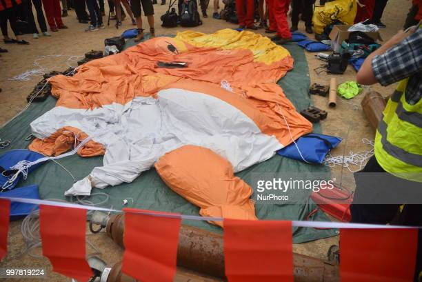 A protest takes place against the US President Donald Trumps visit to the UK including a giant inflatable Baby Trump London on July 13 2018 The...