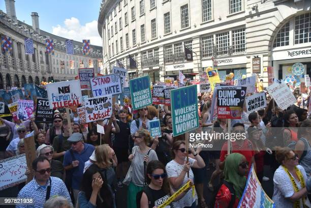 A protest takes place in Central London against the US President Donald Trumps visit to the UK including a giant inflatable Baby Trump London on July...