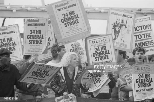 A protest to ask for a 24hours strike to support miners outside a TUC conference UK 4th September 1984