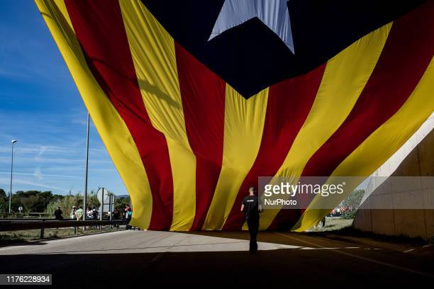 Protest walk in Barcelona, Spain, on October 16 a day after police arrested 51 people across Catalonia overnight after violent protests over the...