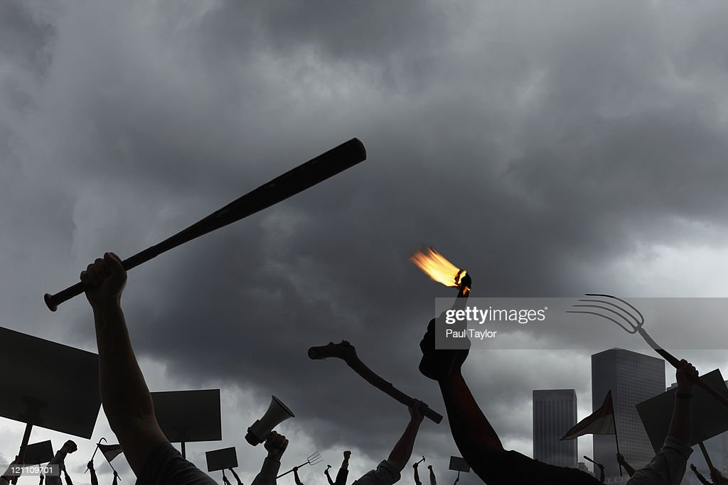 Protest with City in Background : Stock Photo