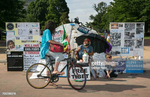 A protest zone front of The White House is viewed on June 4 2017 in Washington DC The nation's capital the sixth largest metropolitan area in the...